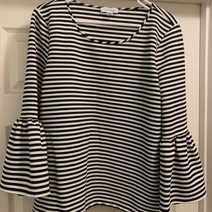 Stripped bell sleeve blouse